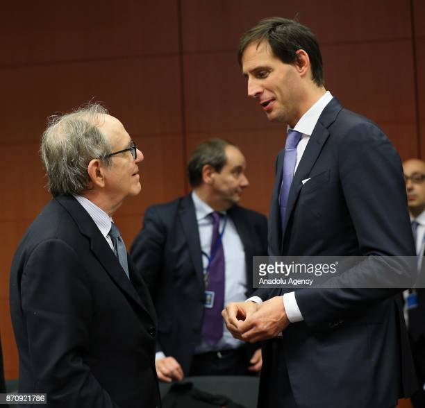 Dutch Finance Minister Wopke Hoekstra and Minister of Economy and Finance of Italy Pier Carlo Padoan attend the Euro Zone Finance Ministers Meeting...