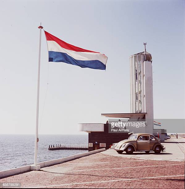 Dutch Flag at Ijsselmeer Dam