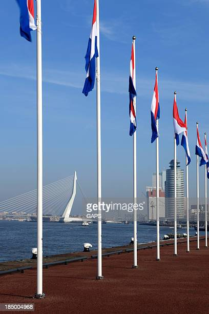 Dutch flags with Rotterdam's characteristic Erasmus bridge in the background