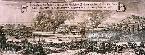Dutch fleet sailing up the Medway River to bombard Chatham and Rochester in 1667 c1667 The bombardment took place during the Second Dutch War 16651667