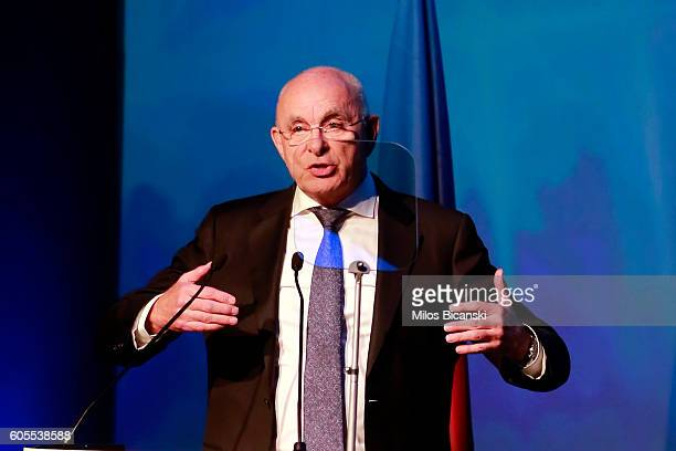 Dutch Football Association president and candidate for the UEFA presidency Michael van Praag speaks before the elections of the new UEFA President,...
