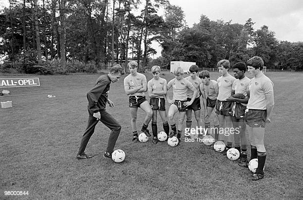 Dutch football coach Wiel Coerver demonstrates his skill to some of the boys at the Football Association Soccer School in Lilleshall England on 18th...