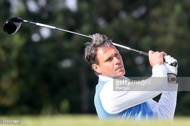 Dutch football legend Marco van Basten in action during round one of the Van Lanschot Senior Open at Royal Haagsche Golf and Country Club on June 24...