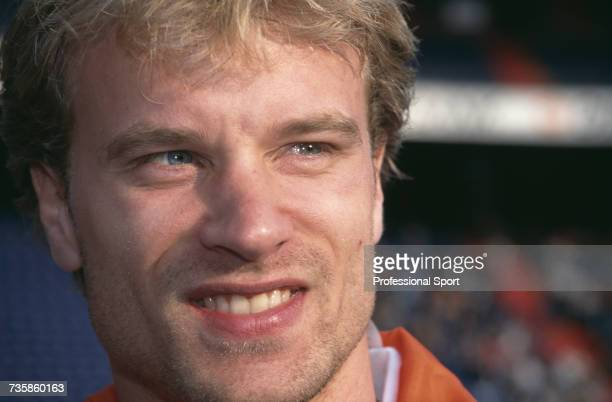 Dutch footballer and forward with Arsenal and the Netherlands national football team Dennis Bergkamp pictured during the UEFA Euro 1996 European...