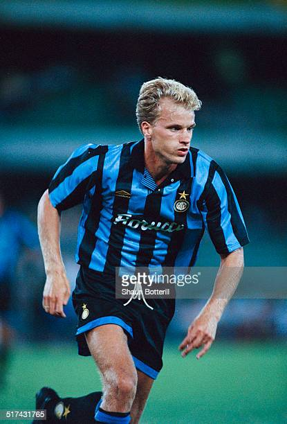 Dutch footballer Dennis Bergkamp in action for Inter Milan August 1995