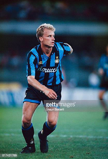Dutch footballer Dennis Bergkamp in action for Inter Milan July 1995