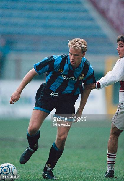 Dutch footballer Dennis Bergkamp of Inter Milan during a Serie A match against AC Reggiana at the Stadio Giuseppe Meazza Milan 30th October 1994...