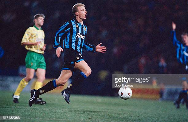 Dutch footballer Dennis Bergkamp playing for Inter Milan in a UEFA Cup Third round First leg match against Norwich City at Carrow Road, Norwich, 24th...