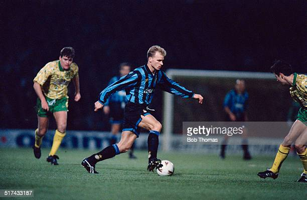 Dutch footballer Dennis Bergkamp playing for Inter Milan in a UEFA Cup Third round First leg match against Norwich City at Carrow Road Norwich 24th...