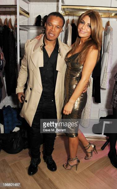 Dutch footballer Edgar Davids and SuperTrash founder Olcay Gulsen attend the launch of the SuperTrash London flagship store on November 21 2012 in...