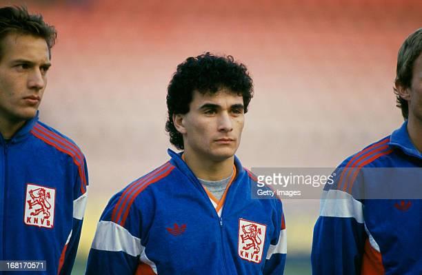 Dutch footballer Gerald Vanenburg at a UEFA Euro 1988 qualifying match against Cyprus at the Olympic Stadium Amsterdam 9th December 1987 Holland won...