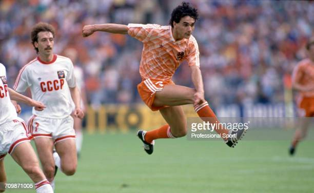 Dutch footballer Gerald Vanenburg shoots for goal in an attack for Netherlands against the Soviet Union in the final of the UEFA Euro 1988 European...