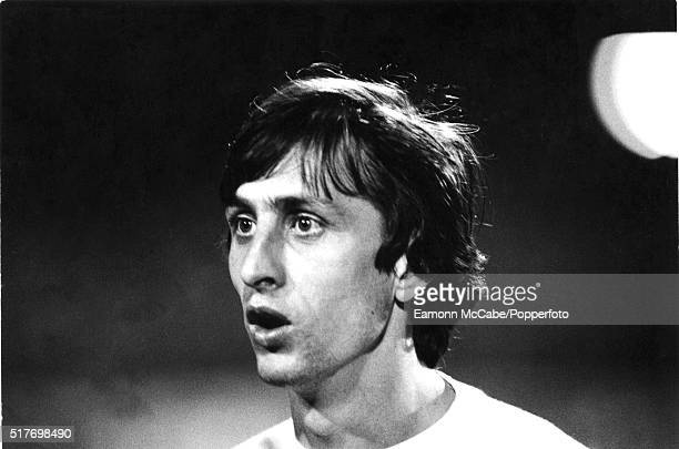 Dutch footballer Johan Cruyff on the pitch during an England v Holland international friendly at Wembley Stadium London 9th February 1977 Holland won...