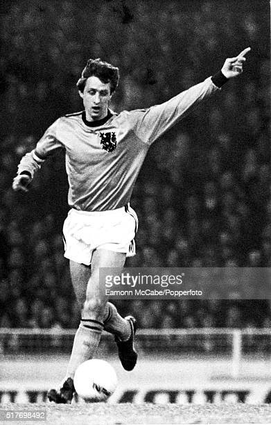 Dutch footballer Johan Cruyff on the pitch during an England v Holland international friendly at Wembley Stadium London 9th February 1977 Holland won...