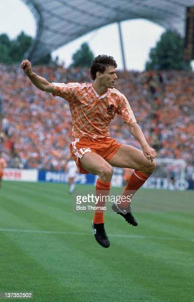 Dutch footballer Marco van Basten during the European Championships Final between Holland and the USSR at the Olympiastadion in Munich West Germany...