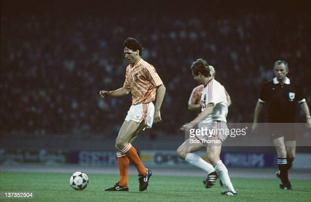 Dutch footballer Marco van Basten in action during the European Championships First Round Group B match between Holland and the USSR at the...