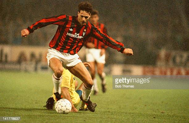 Dutch footballer Marco van Basten of AC Milan in action during a European Cup second round second leg match against Club Brugge at the Olympiastadion...
