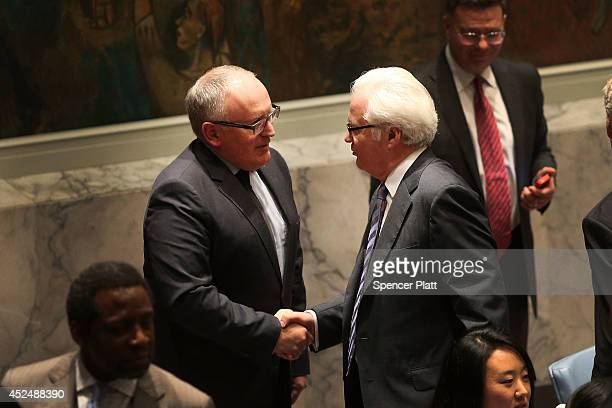 Dutch foreign minister Frans Timmermans meets with Russian Ambassador to the United Nations Vitaly Churkin during a meeting of the United Nations...
