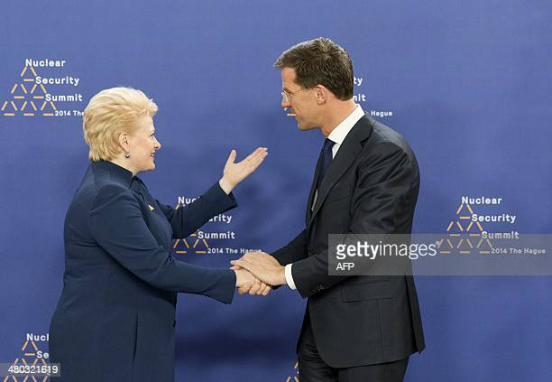 Dutch Foreign Minister Mark Rutte greets Lithuanian President Dalia Grybauskaite at The World Forum in The Hague on March 24, 2014 on the first day...