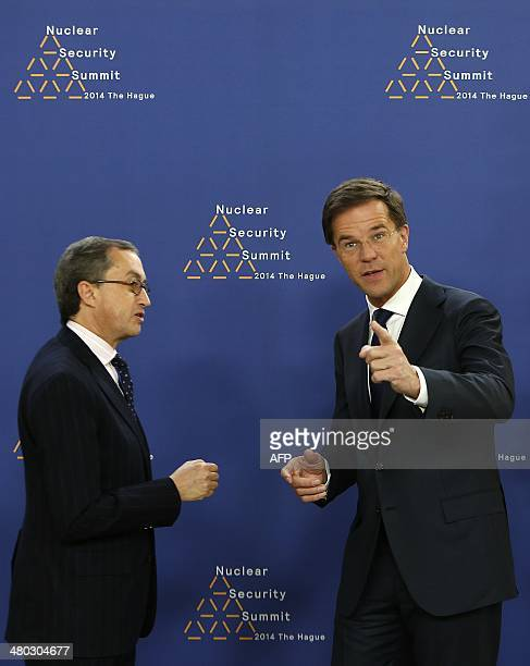 Dutch Foreign Minister Mark Rutte greets Mexican Deputy Foreign Minister for Multilateral Affairs and Human Rights Juan Manuel GomezRobledo at The...