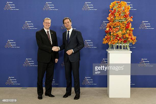 Dutch Foreign Minister Mark Rutte greets Pavel Belobradek Czech Deputy Prime Minister and Minister of Science and Research a upon his arrival at The...