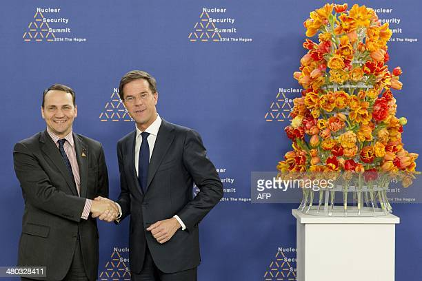 Dutch Foreign Minister Mark Rutte greets Poland's Foreign Minister Radoslaw Sikorski upon his arrival at The World Forum in The Hague on March 24...