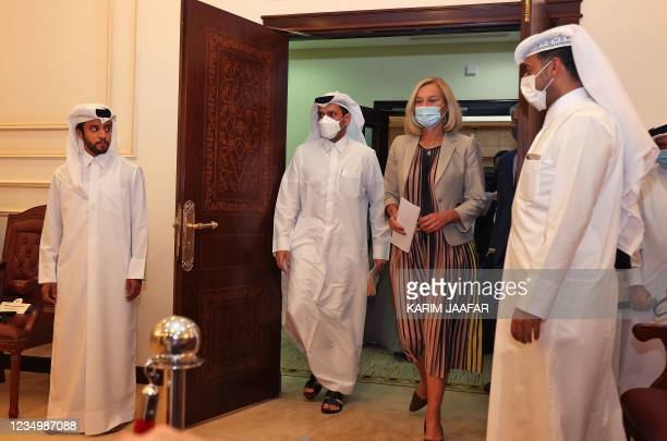 Dutch Foreign Minister Sigrid Kaag and her Qatari counterpart Sheikh Mohammed bin Abdulrahman al-Thani arrive for a press conference on September 1,...