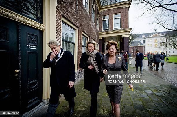 Dutch former European Commissioner for Digital Agenda Neelie Kroes is welcomed by mayor of Amsterdam Eberhard van der Laan and alderman Kajsa...