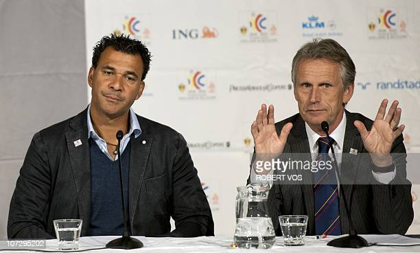 Dutch former international football player Ruud Gullit and president of the Dutch football association KNVB Harry Been give a press conference in...