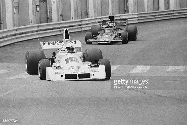 Dutch Formula One racing driver Roelof Wunderink drives the HB Bewaking Team Ensign N174 Cosworth V8 in practice to fail to qualify for the 1975...