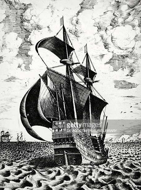 Dutch galleon engraving 17th century