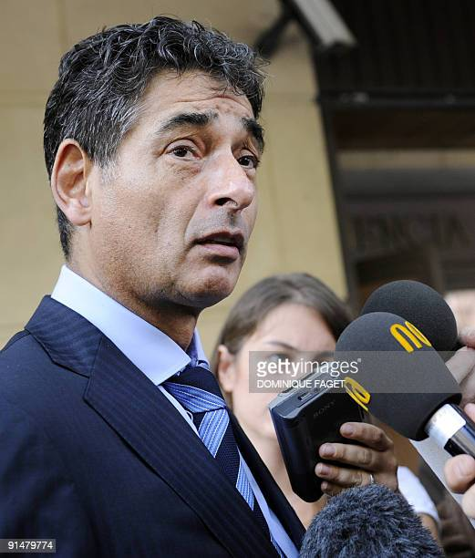 Dutch Gerard Spong lawer of Argentinian born Dutch pilot Julio Alberto Poch talks to the press in front of the high court in Madrid on October 6...