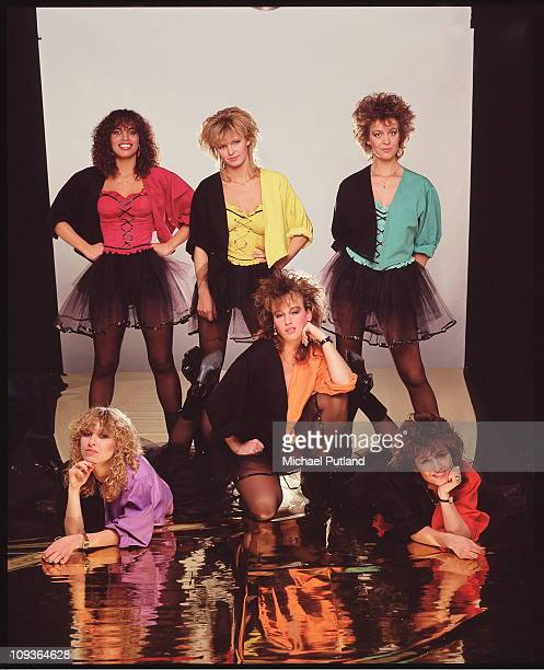 Dutch girl band Dolly Dots London 1982 Standing left to right Esther Oosterbeek Angéla Kramers and Ria Brieffies Front Anita Heilker Angela...