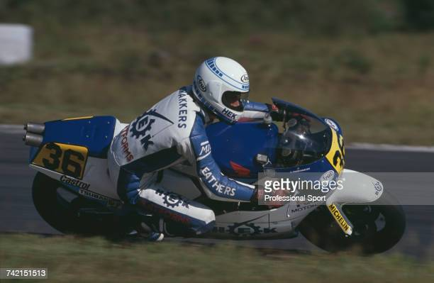 Dutch Grand Prix motorcycle road racer Cees Doorakkers rides the 500cc Honda to finish in 12th place in the 1990 Swedish motorcycle Grand Prix at...
