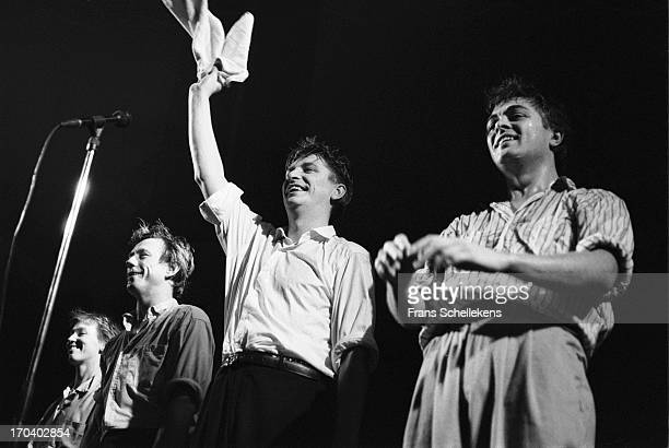 Dutch group The Nits perform live on stage at the Paradiso in Amsterdam, Netherlands on 6th November 1987.