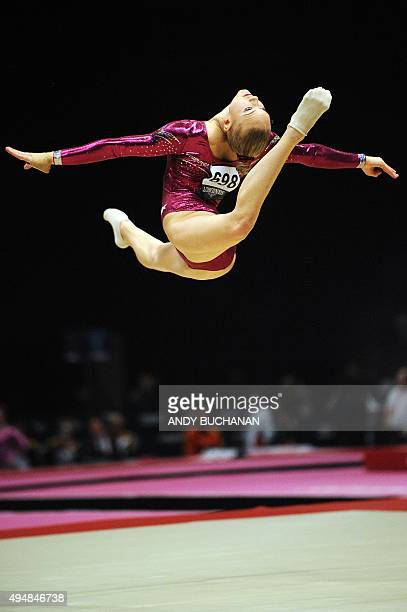 Dutch gymnast Lieke Wevers competes on the floor exercise during the Women's AllAround final on the seventh day of the 2015 World Gymnastics...
