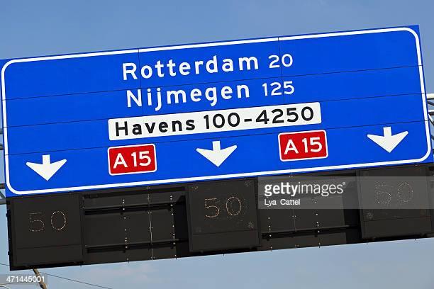 Dutch highway direction sign