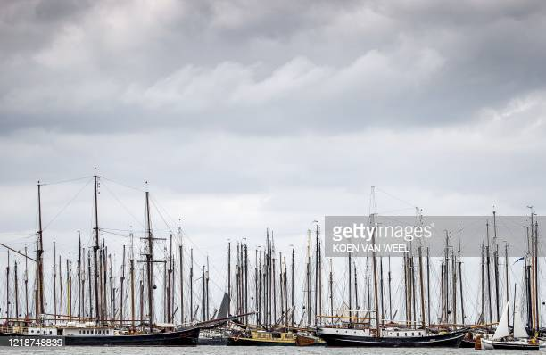 Dutch historic sailing ships gather in Muiden, outside of Amsterdam on June 9, 2020 during a protest of Dutch Sailing Fleet against economic loss...