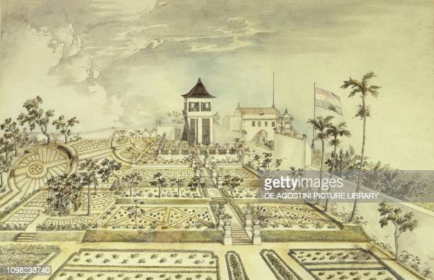 Dutch house with enclosed garden in Java Island Indonesia engraving 19th century