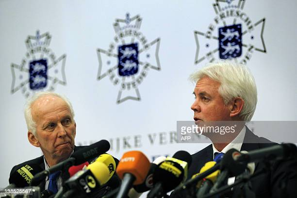 Dutch 'Ice master' Jan Oostenbrug and president of the organising committee Wiebe Wieling talk to the press in Leeuwarden on February 8 2012 about...