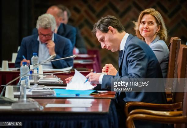 Dutch Infrastructure minister Cora van Nieuwenhuizen and Finance minister Wopke Hoekstra take part in a plenary session at the Senate on the support...
