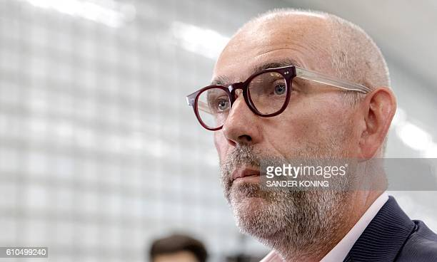 Dutch Joost Lagendijk publicist Turkey scholar and former MEP for the GroenLinks speaks to the press upon his arrival at Schiphzl Airport in...