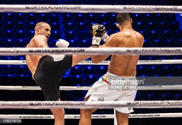Dutch kickboxer Badr Hari fights against Romania's Benjamin Adegbuyi during the Glory 76 match in Rotterdam on December 19, 2020. / Netherlands OUT