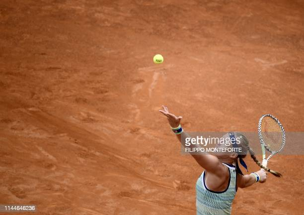 Dutch Kiki Bertens serves Britain's Johanna Konta during their WTA Masters tournament semi final tennis match at the Foro Italico in Rome on May 18...