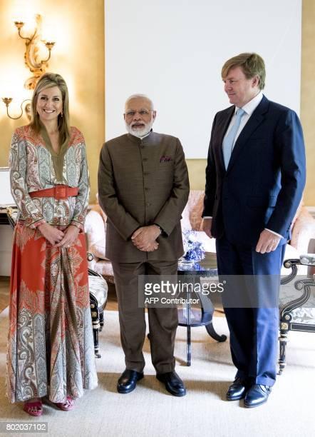 Dutch King Willem Alexander and Dutch Queen Maxima meet Indian Prime Minister Narendra Modi at Villa Eikenhorst in Wassenaar near The Hague on June...