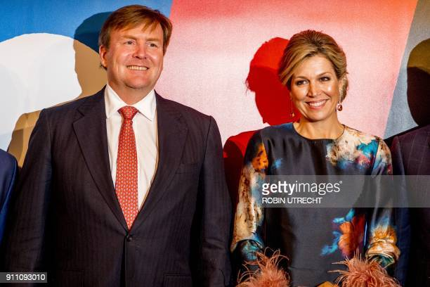 Dutch king Willem Alexander and queen Maxima pose during the opening weekend of Leeuwarden the European Capital of Culture on January 27 2018 / AFP...