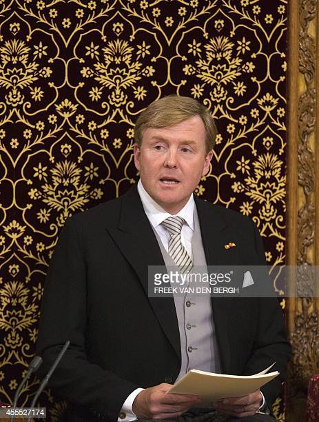 Dutch King WillemAlexander addresses the Dutch Senate and House of Representatives from the throne in the Hall of Knights on September 16 2014 in The...