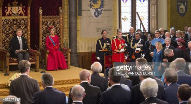 Dutch King Willem-Alexander addresses the Dutch Senate and House of Representatives from the throne in the Hall of Knights next to Queen Maxima, on...