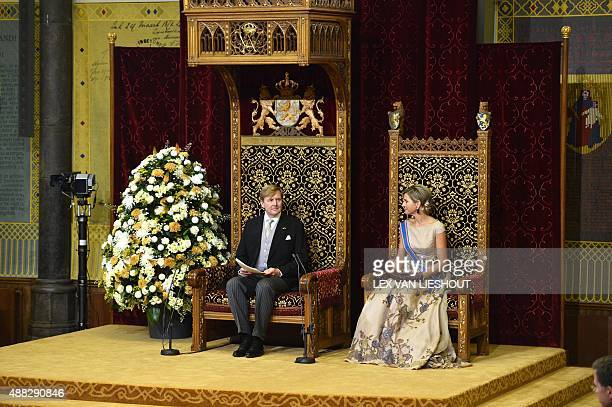 Dutch King WillemAlexander addresses the Senate and House of Representatives at the 'Ridderzaal' in his speech from the throne next to Queen Maxima...