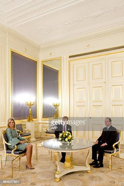 Dutch King Willem-Alexander and Dutch Queen Maxima receive President of France, François Hollande at Palace Noordeinde, in The Hague, the...